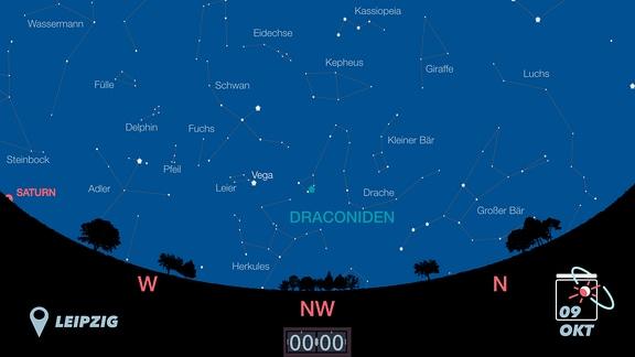 Eine Karte der Sternbilder am Himmel über Deutschland.