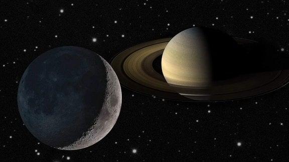 Eine Collage aus Mond und Saturn