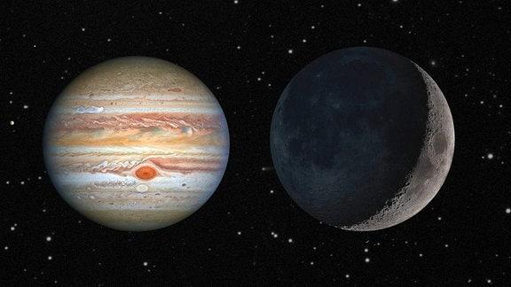 Eine Collage aus Mond und Jupiter
