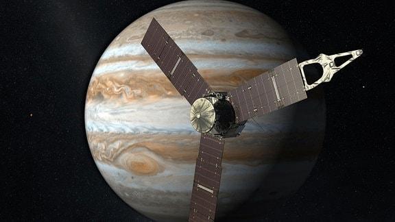 Künstlerische Darstellung der Ankunft der Juno-Raumsonde am Jupiter (4. Juli 2016).