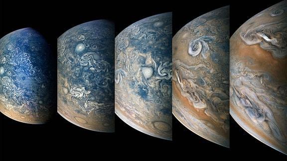 Zeitraffer-Sequenz von Jupiters nördlicher Hemisphäre.