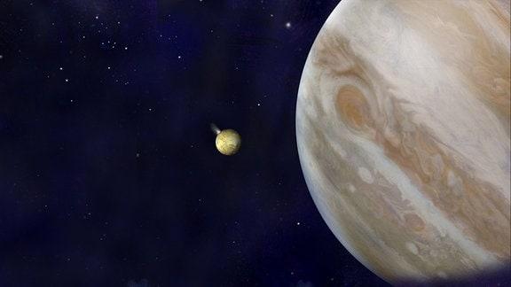 Eine Infografik über den Aufbau des Jupitermond Europa.