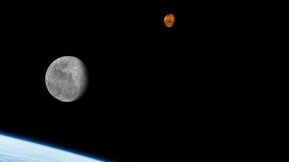 Collage von Mond und Mars.