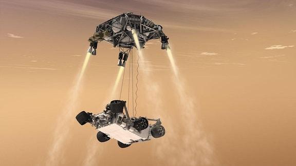 Küntslerische Darstellung eines Sky Crane-Landemanövers auf dem Mars