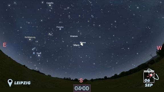 Der Mars kreuzt in den frühen Morgenstunden am 6. September den Mond. Der Blick sollte dabei gen Süd fallen.