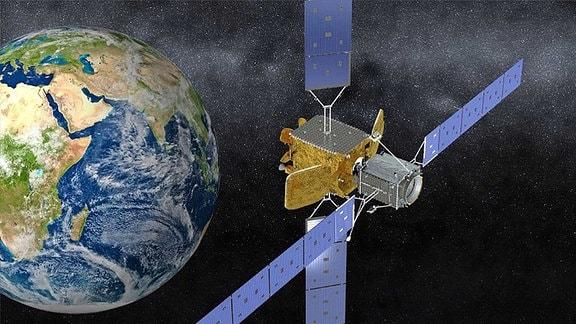 Ein Satellit neben der Erde im Weltraum.