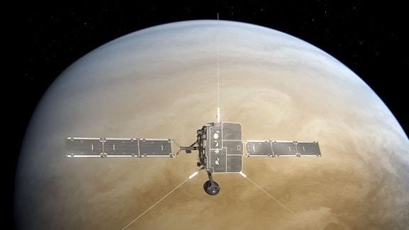 """Künstlerische Darstellung des Swing-by-Manövers der europäischen Raumsonde """"Solar Orbiter"""" an der Venus."""