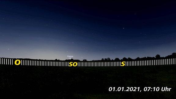 In dieser schematischen Darstellung sieht man die Venus als Morgenstern am 1. Januar 2021.