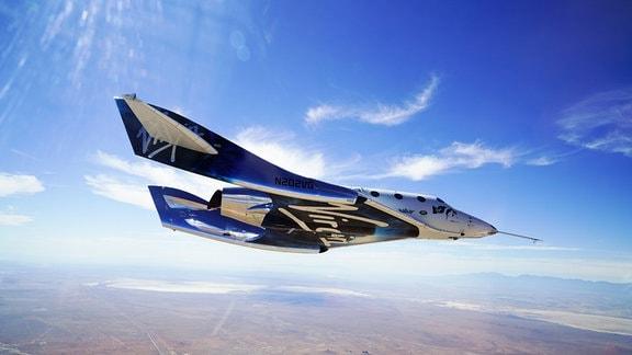 Das Raumschiff von Virgin Galactic bei der Landung.