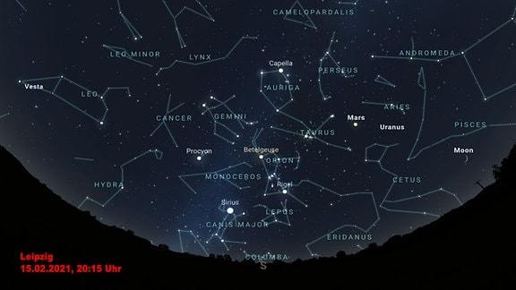 Das Winterseckseck ist eine Konstellation aus hellen Sternen. Diese Grafik zeigt wie man sie erkennen kann.