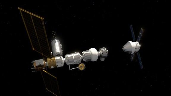 Künstlerische Darstellung der geplanten Mond-Orbitalstation Lunar Gateway mit dem Orion-Raumschiff im Anflug