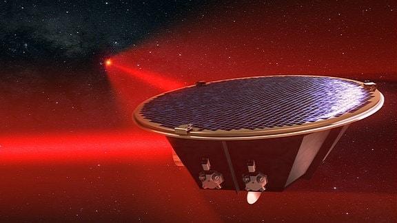 Künstlerische Darstellung des Weltraum-Gravitationswellendetektors LISA