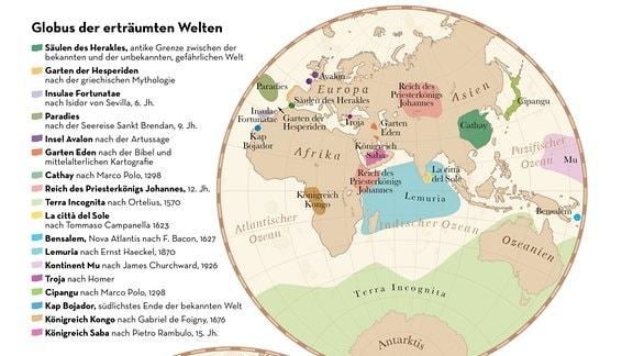 """Zwei Kreise mit den Erdhalbkugeln. Darauf eingezeichnet die reale und vermutete geografische Verortung von """"erträumten Welten"""" - von den Säulen des Herakles und der Insel Avalon bis hin zu Atlantis und Utopia."""