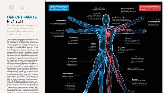 Das Bild zeigt einen stilisierten vitruvianischen Menschen. Die Körperumrisse sind nur angedeutet; dafür erlaubt das Bild einen Blick ins Innere des Körpers. Links sind die Knochen des Mannes zu sehen, rechts die Organe und Gefäße. Legenden an nahezu allen Körperregionen weisen auf die Optimierungsmöglichkeiten an diesen Stellen hin.