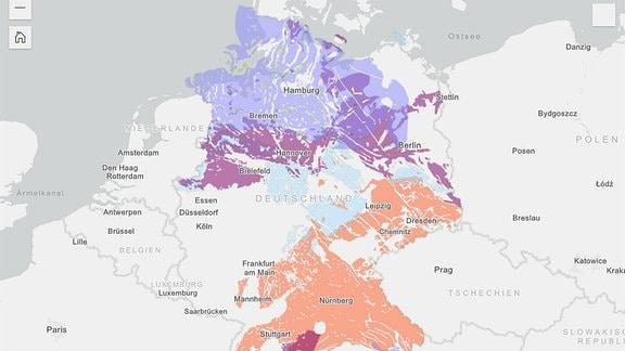 Teilgebiete für ein Atommüllendlager in Deutschland mit markierungen in den Farben lila, blau und orange