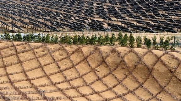 Das Foto zeigt die Dalad Photovoltaic Power Base in der Kubuqi-Wüste in der nordchinesischen autonomen Region Innere Mongolei.