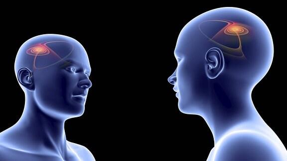 Symbolbild Spiegelneuronenaktivität bei sozialer Interaktion