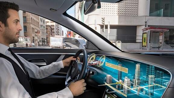 Visualisierung eines Auto-Cockpits mit dreidimensionalen Hologramm-Anzeigen im Armaturenbrett.