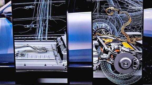v.l. Mercedes Benz EQC 400 4Matic / Batterie / Innenansicht / Batterieboden / Antrieb