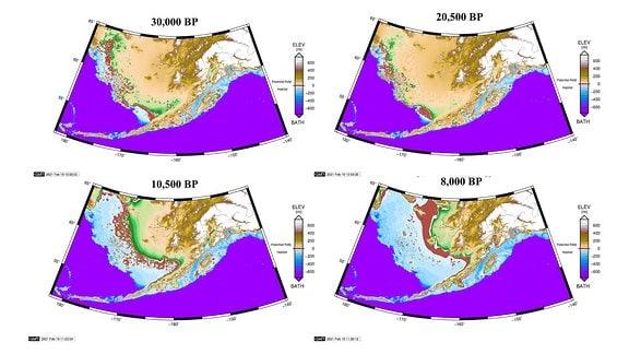 Beringia im Zeitraum vor 30.000 bis vor 8.000 Jahren