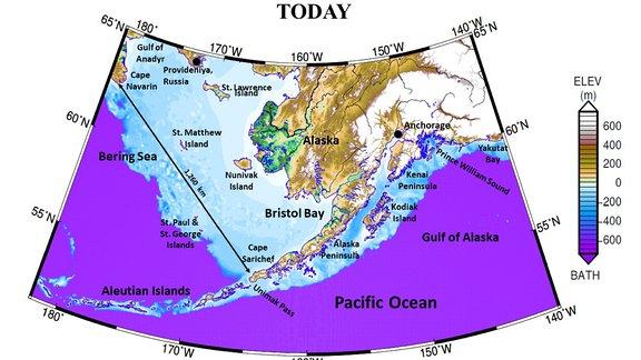 Beringmeer heute und vor 10.000 Jahren