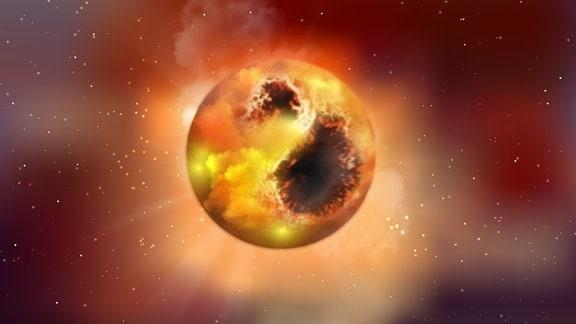 Künstlerische Darstellung des roten Supersterns Beteigeuze. Die Oberfläche ist von Sternflecken bedeckt, die seine Helligkeit verringern.
