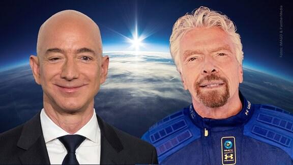 Eine Collage mit Jeff Bezos (Blue Origin, l.) und Richard Branson (Virgin Galactic, r.). Im Hintergrund befindet sich die Erde und das Weltall.