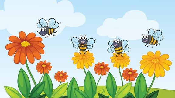 animiertes Bild mit Bienen auf Blumen