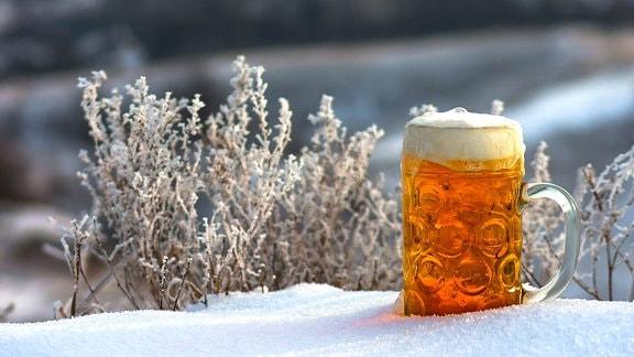 Bier im Schnee