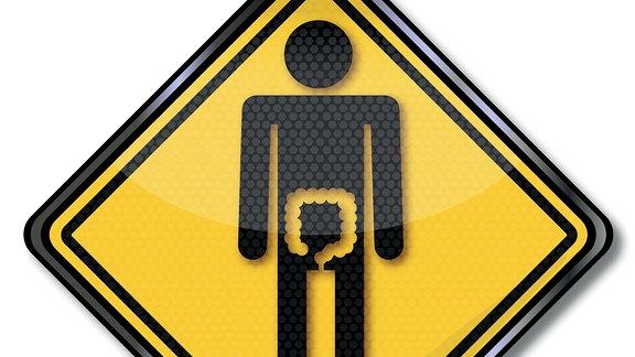 Schild mit Piktogramm eines Mannes, auf dem der Dickdarm hervorgehoben ist.
