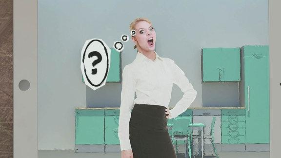 Junge Frau mit einem Fragezeichen