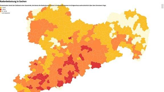 Karte von Sachsen, die die Gefahr durch das radioaktive Gas Radon für die einzelnen Gemeinden darstellt.