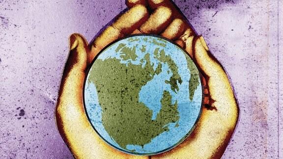 Hände halten Globus