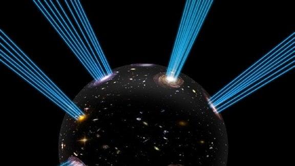 Eine schwarze Blase von der Strahlen ausgehen.