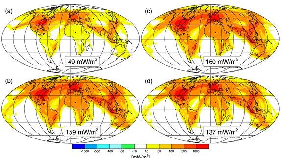 Vier Weltkarten in denen Farbige Linien von gelb über orange bis rot die Auswirkungen von Luftverkehr für das Weltklima zeigen.