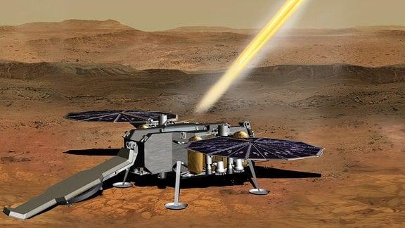 Künstlerische Darstellung einer Idee, wie eine kleine Rakete mit Gesteins- und Bodenproben von der Marsoberfläche starten könnte. Damit wäre ein zentraler Schritt der Probenrückführung zur Erde geschafft.