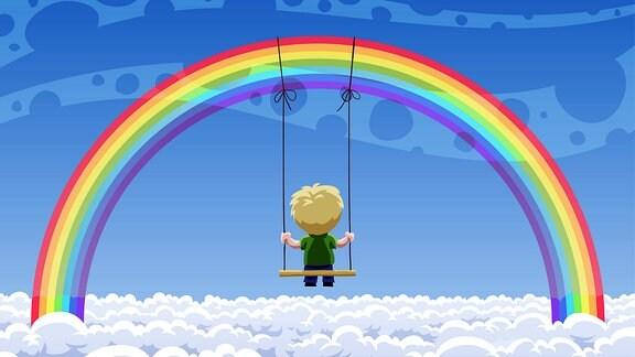Regenbogen mit schaukelndem Kind