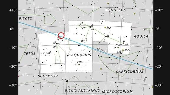 Der sehr kühle Zwergstern TRAPPIST-1 im Sternbild Wassermann