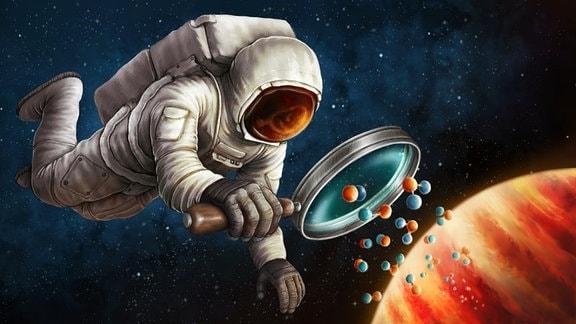 Zeichnung zur Entdeckung von Kohlenstoff-13 in der Atmosphäre eines Exoplaneten. In Wirklichkeit saßen die Astronomen hinter ihren Schreibtischen und analysierten die Spektren des Exoplaneten, die mit dem Very Large Telescope der ESO in Chile aufgenommen wurden.