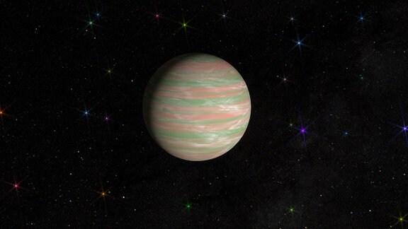 """So könnte Exoplanet """"TYC 8998-760-1 b"""" in etwa aussehen. Der 309 Lichtjahre entfernte Gasriese ist etwa dreimal so groß und ungefähr 14-mal so massereich wie Jupiter."""