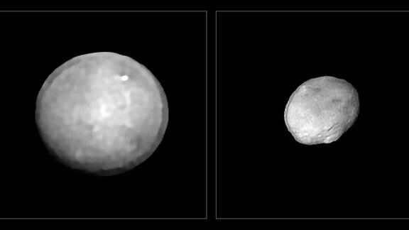 Diese Bilder wurden mit dem SPHERE-Instrument (Spectro-Polarimetric High-contrast Exoplanet REsearch) am Very Large Telescope der ESO im Rahmen eines Programms aufgenommen, das 42 der größten Asteroiden in unserem Sonnensystem untersuchte. Sie zeigen Ceres und Vesta, die beiden größten Objekte im Asteroidengürtel zwischen Mars und Jupiter mit einem Durchmesser von etwa 940 und 520 Kilometern. Diese beiden Asteroiden sind auch die beiden massereichsten in der Stichprobe.