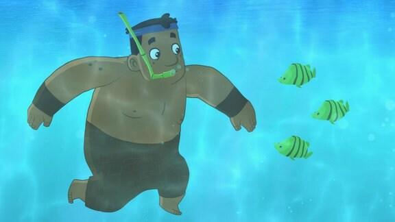 Luigi schnorchelt neben Fischen