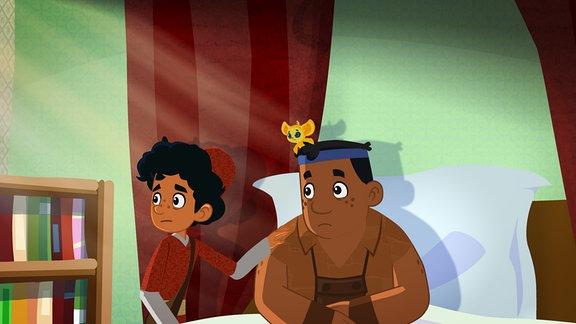 Marco an Luigis Krankenbett.