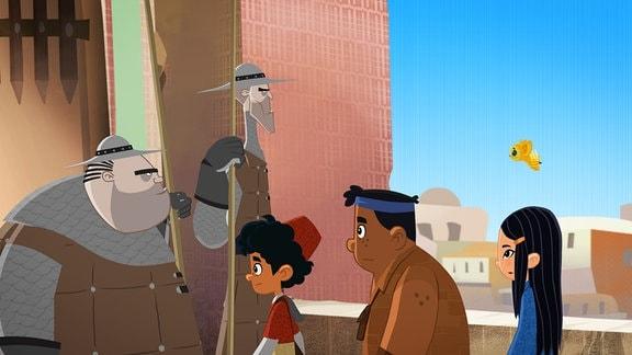 Marco, Shila und Luigi stehen vor zwei Rittern.