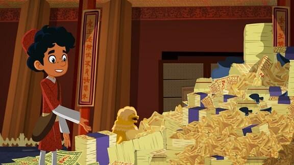 Marco steht vor einem Berg Papiergeld