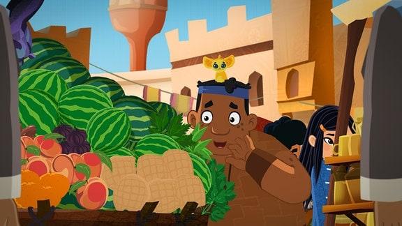 Luigi betrachtet Melonen an einem Marktstand