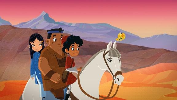 Shila, Luigi und Marco auf Pferd in der Wüste