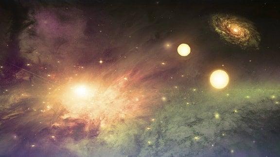 Erleuchtetes Universum mit Sternen und Planeten.