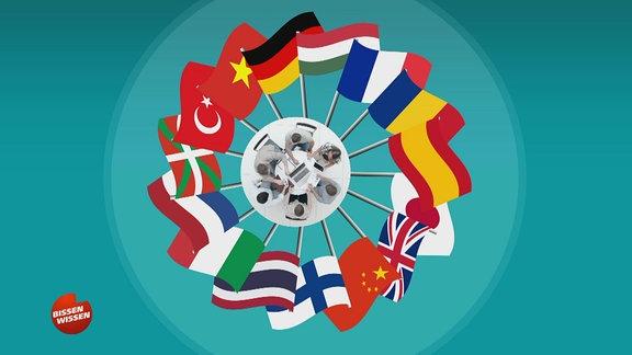 Grafik auf der Länderflaggen zu sehen sind