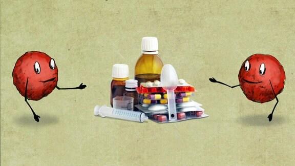 Comicartige Darstellung zwei roter Bakterein mit Augen, Mund und Armen. Zwischen den beiden steht ein Stapel mit Medizin.